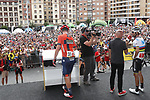 Mark Padun (UKR) Bahrain-Merida and World Champion Alejandro Valverde (ESP) Movistar Team at sign on before the start of Stage 13 of La Vuelta 2019 starting in Athletic Club Bilbao's Estadio de San Mames and running 166.4km from Bilbao to Los Machucos, Spain. 6th September 2019.<br /> Picture: Luis Angel Gomez/Photogomezsport | Cyclefile<br /> <br /> All photos usage must carry mandatory copyright credit (© Cyclefile | Luis Angel Gomez/Photogomezsport)