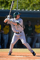 Slippery Rock outfielder Graeme Frye (17) during a game against the Wayne State Warriors on March 15, 2013 at Chain of Lakes Park in Winter Haven, Florida.  (Mike Janes/Four Seam Images)