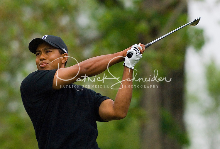 PGA golfer Tiger Woods watches his approach shot during the 2007 Wachovia Championships at Quail Hollow Country Club in Charlotte, NC.