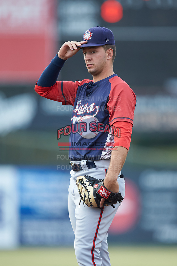 Hagerstown Suns first baseman Drew Mendoza (22) on defense against the Kannapolis Intimidators at Kannapolis Intimidators Stadium on August 27, 2019 in Kannapolis, North Carolina. The Intimidators defeated the Suns 5-4. (Brian Westerholt/Four Seam Images)