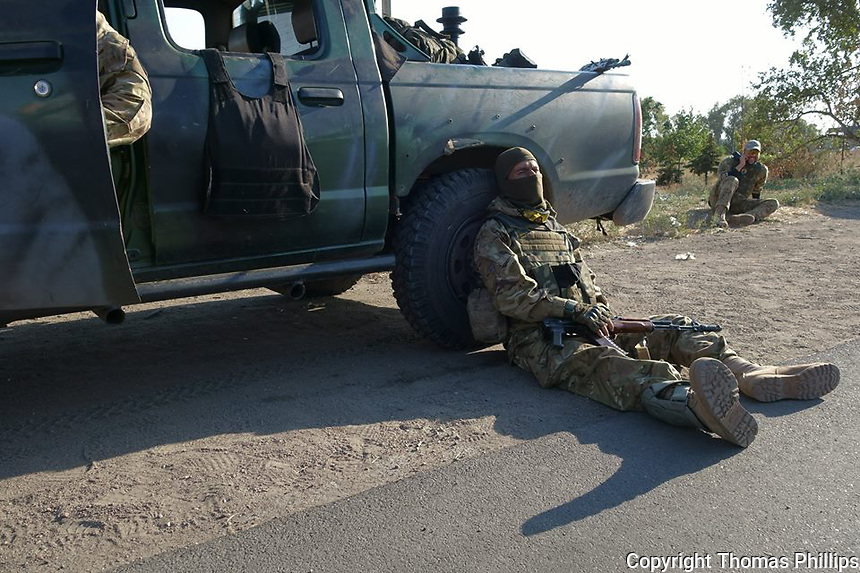 Militia fighter after retreat to Mariupol, Ukraine. September, 2014.