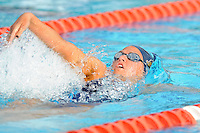 15 October 2010:  FIU's Danielle Sneir competes in the 200 yard medley relay during the meet between the FIU Golden Panthers and the University of Miami Hurricanes at the Norman Whitten Student Union Pool in Coral Gables, Florida.