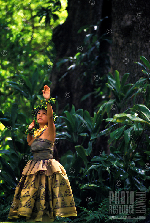 Woman dancing hula for the prince lot hula festival at moana lua gardens, Oahu