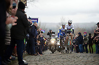 World Champion Michal Kwiatkowski (POL/Ettix-Quickstep) leading the race over the cobbles Oude Kwaremont<br /> <br /> 70th Dwars Door Vlaanderen 2015