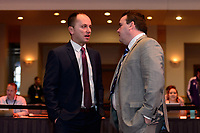 Philadelphia, PA - Thursday January 18, 2018: Mark Parsons, Matt Beard during the 2018 NWSL College Draft at the Pennsylvania Convention Center.
