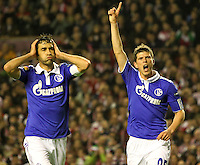 5.04.2012 Bilbao, Spain. Uefa Europa League. Picture show Huntelaar (R) and Raul Gonzales  (L) in action during match between Athletic Club against Shalke 04 at San Mames stadium