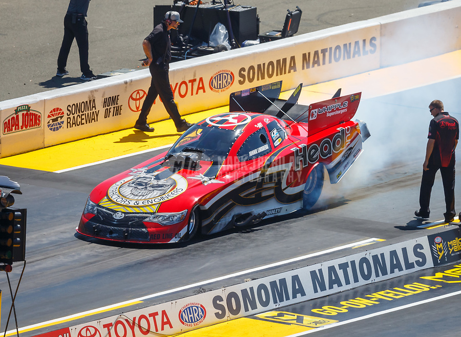 Jul 30, 2017; Sonoma, CA, USA; NHRA funny car driver Jonnie Lindberg during the Sonoma Nationals at Sonoma Raceway. Mandatory Credit: Mark J. Rebilas-USA TODAY Sports