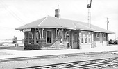 D&amp;RGW Antonito depot trackside view.<br /> D&amp;RGW  Antonito, CO  Taken by Maxwell, John W. - 6/25/1968