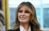 First Lady Melania Trump looks on during a meeting with the members of Team USA for the 2019 Special Olympics World Games in the Oval Office of the Washington, D.C., on July 18, 2019. <br /> Credit: Olivier Douliery / Pool via CNP