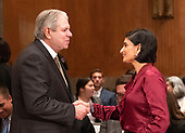 "Eugene L. Dodaro, Comptroller General of the United States, US Government Accountability Office, left, shakes hands with Seema Verma, Administrator, Centers for Medicare & Medicaid Services, US Department of Health and Human Services, right, prior to their giving testimony before the United States Senate Committee on Homeland Security & Governmental Affairs during a hearing entitled ""Examining CMS's Efforts to Fight Medicaid Fraud and Overpayments"" on Capitol Hill in Washington, DC on Tuesday, August 21, 2018.<br /> Credit: Ron Sachs / CNP"