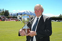 Sir Brian Lochore with the Lochore Cup before the Mitre 10 Heartland Championship Lochore Cup rugby final between Mid Canterbury and West Coast at Methven Domain in Methven, New Zealand on Sunday, 29 October 2017. Photo: Martin Hunter / lintottphoto.co.nz