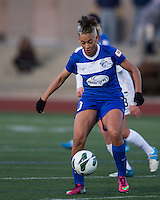 In a National Women's Soccer League Elite (NWSL) match, the Boston Breakers and  Washington Spirit drew 1-1, at the Dilboy Stadium on April 14, 2012.  Boston Breakers forward Lianne Sanderson (10) controls the ball.