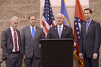 NWA Democrat-Gazette/BEN GOFF @NWABENGOFF<br /> Trey Gowdy (from left), U.S. Rep. (R-S.C.), U.S. Sen. John Boozman (R-Ark.), U.S. Rep. Steve Womack (R-Ark.) and U.S. Sen. Tom Cotton (R-Ark.) take part in media availability Thursday, April 20, 2017, prior to Gowdy's speech, part of the Winthrop Paul Rockefeller Distinguished Lecture Series presented by the United States Marshals Museum, at the Fort Smith Convention Center in Fort Smith.