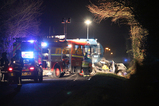 The scene of a fatal accident outside Drominskin in Co Louth. The Male Driver was killed in his nissan micra car at the scene, believed after trying to avoid horses that were loose on the road..Photo: Fran Caffrey/www.newsfile.ie...