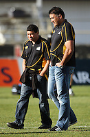 Wellington coaches Andre Bell and Jamie Joseph during the Air NZ Cup preseason match between Manawatu Turbos and Wellington Lions at FMG Stadium, Palmerston North, New Zealand on Friday, 17 July 2009. Photo: Dave Lintott / lintottphoto.co.nz