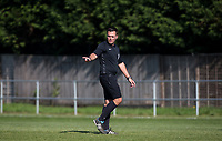 Referee Nathan Briggs during the UHLSport Hellenic Premier League match between Flackwell Heath v Tuffley Rovers at Wilks Park, Flackwell Heath, England on 20 April 2019. Photo by Andy Rowland.