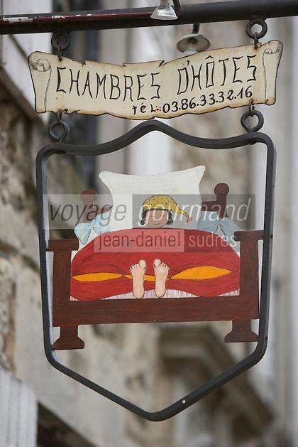Europe/France/Bourgogne/89/Yonne/Vézelay: détail enseigne de chambres d'Hotes