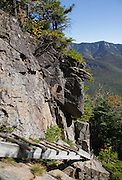 Franconia Notch State Park - Trail ladder along the Hi-Cannon Trail. This trail leads to the summit of Cannon Mountain in the White Mountains of New Hampshire.