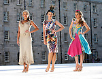 .Faith Barnett, wearing a Edel MacBride dress with Karen Fitzpatrick, wearing a Jennifer Rothwell dress and Nadia Forde, wearing a Heather Finn Dress (right), pictured here in Collins Barracks, Dublin at the launch of Showcase, Ireland's creative expo showcasing Ireland's finest Designers and Craftmakers in the RDS Dublin from 24th to 27th January. Pic. Robbie Reynolds/CPR