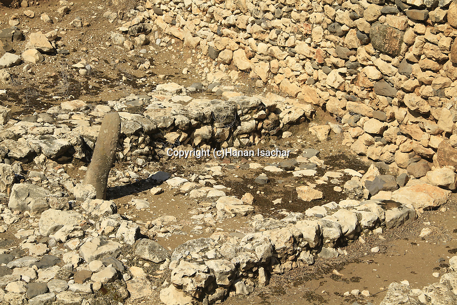 Israel, Upper Galilee, Tel Hazor, a World Heritage site, the Cultic Installation built in the 11th Century B.C
