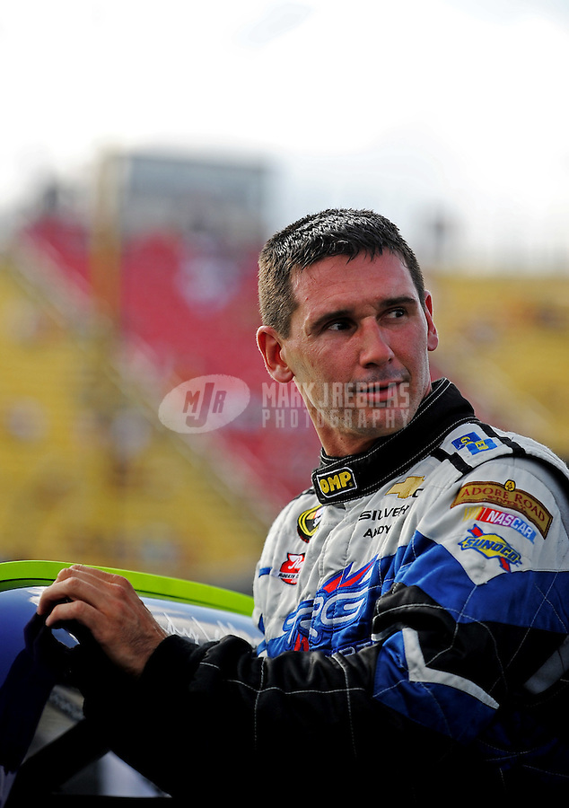 Aug. 7, 2009; Watkins Glen, NY, USA; NASCAR Sprint Cup Series driver Andy Lally during qualifying for the Heluva Good at the Glen. Mandatory Credit: Mark J. Rebilas-