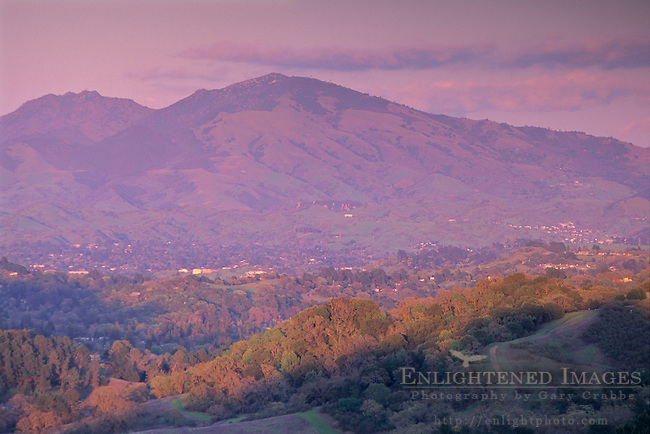 Sunset light on clouds above Mt. Diablo from the Orinda / Berkeley Hills, CALIFORNIA
