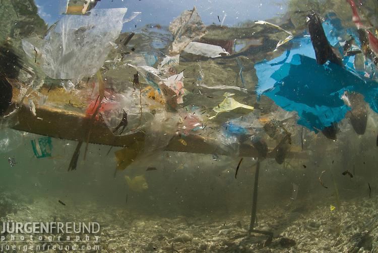 Coastal pollution underwater.Philippines