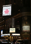 """Theatre Marquee for the Broadway Opening Night performance curtain call bows for """"The Front Page""""  at the Broadhurst Theatre on October 20, 2016 in New York City.ity."""