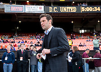 D.C. United head coach Ben Olsen walks to the bench before the game at the RFK Stadium in Washington DC.  Philadelphia defeated D.C. United, 3-2.