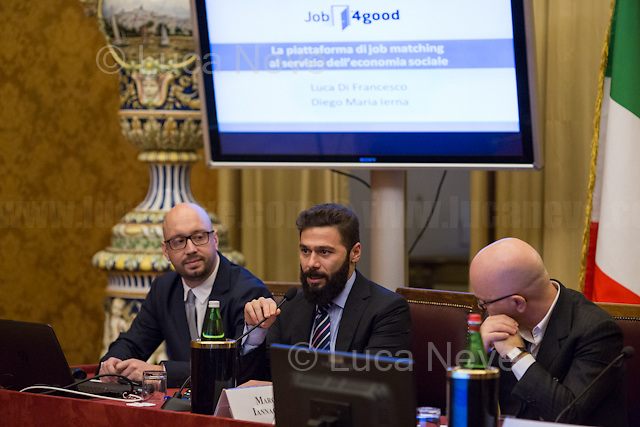 (From L to R) Luca di Francesco, Diego Ierna (Job4Good) &amp; Giovanni Iozzia.<br /> <br /> Rome, 15/12/2017. Today, the Chamber of the Deputies of the Italian Republic held the 6th annual Conference: &quot;La tecnologia che migliora la vita delle persone - Tecnologia Solidale 2017&quot; (The technology which improves people's lives - Assistive Technology 2017). The event, held in the &quot;Sala Aldo Moro&quot;, was hosted by Antonio Palmieri MP (Forza Italia Party - Member of the &quot;Intergruppo innovazione&quot;), Simone Baldelli MP (Forza Italia Party, Vice-president of the Chamber of Deputies), Giovanni Iozzia (Director of Economyup.it) and Stefano Epifani (Professor of Internet &amp; Social Media Studies at Universit&agrave; La Sapienza di Roma, fondatore di Tech Economy, Presidente Digital Transformation Institute &amp; UN advisor). Guests of the event were: Paola Cavallero (Director of Marketing &amp; Operations Microsoft Italy), Franco Bernardi (ASPHI), Bruno Calchera (CSR Oggi), Enrico Capiozzo (VEASYT), Lorenzo Di Ciaccio (Pedius), Francesca Fedeli (Fight the stroke), Mary Franzese (Neuron Guard), Alberto Giannini (Portale della Salute), Marco Iannacone (EdiTouch), Diego Ierna &amp; Luca di Francesco (Job4Good), Francesco Menegoni (GLIfe Company), Gianluca Ricci (Cuore Digitale), Luca Spaziani (DigitAbili), Mario Vigentini (Mario's way). From the organisers event page: &lt;&lt;We present our initiatives, perspectives and goals for 2018, and we will discuss the creation of an ecosystem that holds together startups, businesses, initiatives, companies that use technology to improve people's lives. And then, what to ask politics to be properly open to innovation?&gt;&gt;<br /> <br /> For more info please click here: http://bit.ly/2kS6JfS<br /> <br /> For a video of the event please click here: http://webtv.camera.it/evento/12370