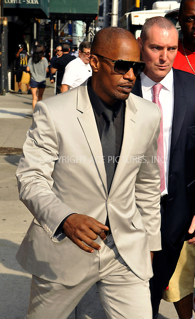 WWW.ACEPIXS.COM<br /> <br /> June 26 2013, New York City<br /> <br /> Actor Jamie Foxx made an appearance at the Late Show with David Letterman on June 26 2013 in New York City<br /> <br /> By Line: Romeo/ACE Pictures<br /> <br /> <br /> ACE Pictures, Inc.<br /> tel: 646 769 0430<br /> Email: info@acepixs.com<br /> www.acepixs.com