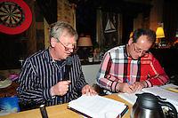 FIERLJEPPEN: TIJNJE: Café 'De Riperkrite', 16-04-2012, Algemene Ledenvergadering FLB (Frysk Ljeppers Boun), interim-voorzitter Pieter Bult, secretaris Hans Helmholt, ©foto Martin de Jong