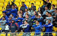 St Pats fans perform a haka after the Transit Coachlines 1st XV Rugby Tournament match between St Patrick's College (Town) and Hastings Boys' High School at Westpac Stadium, Wellington, New Zealand on Saturday, 14 May 2016. Photo: Dave Lintott / lintottphoto.co.nz