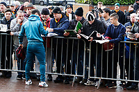 Roque Mesa of Swansea City signs autographs to supporters as he arrives prior to the game during the Emirates FA Cup match between Wolverhampton Wanderers and Swansea City at The Molineux Stadium, Wolverhampton, England, UK. Saturday 06 January 2018