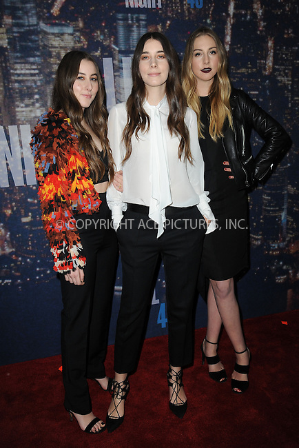 WWW.ACEPIXS.COM<br /> February 15, 2015 New York City<br /> <br /> Haim walking the red carpet at the SNL 40th Anniversary Special at 30 Rockefeller Plaza on February 15, 2015 in New York City.<br /> <br /> Please byline: Kristin Callahan/AcePictures<br /> <br /> ACEPIXS.COM<br /> <br /> Tel: (646) 769 0430<br /> e-mail: info@acepixs.com<br /> web: http://www.acepixs.com