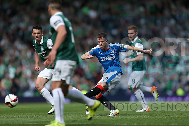 Rangers Andy Halliday  scoring during the William Hill Scottish Cup Final match at Hampden Park Stadium.  Photo credit should read: Lynne Cameron/Sportimage via Sportimage