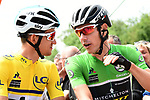 Race leader Michal Kwiatkwoski (POL) Team Sky and Maillot Vert Daryl Impey (RSA) Mitchelton-Scott lined up for the start of Stage 4 of the 2018 Criterium du Dauphine 2018 running 181km from Chazey sur Ain to Lans en Vercors, France. 7th June 2018.<br /> Picture: ASO/Alex Broadway | Cyclefile<br /> <br /> <br /> All photos usage must carry mandatory copyright credit (© Cyclefile | ASO/Alex Broadway)