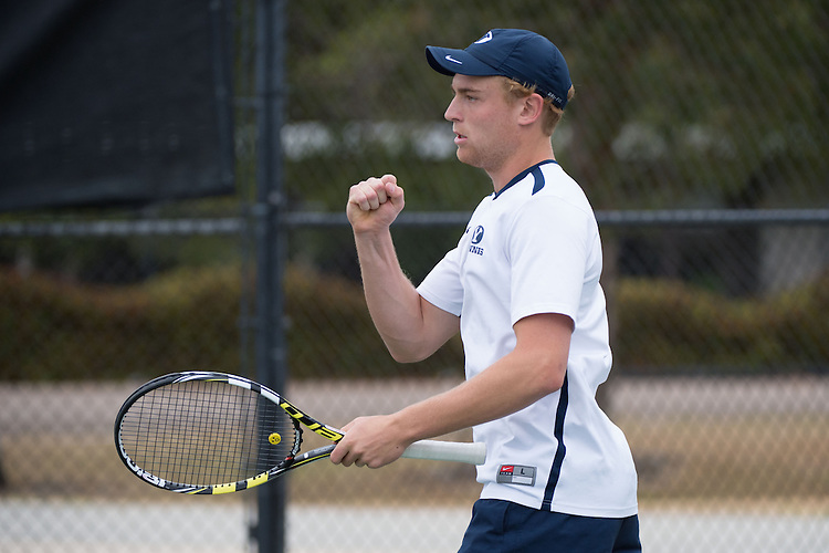 April 22, 2015; San Diego, CA, USA; BYU Cougars tennis player Shane Monroe during the WCC Tennis Championships at Barnes Tennis Center.