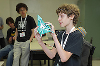 Nathan Zimet, Vermont, USA, teaches his complex origami model Fox to a class at OrigamiUSA 2013