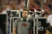 Hawgs Illustrated/BEN GOFF <br /> Austin Allen, Arkansas quarterback out with an injury, watches from the bensh in the fourth quarter against Alabama Saturday, Oct. 14, 2017, at Bryant-Denny Stadium in Tuscaloosa, Ala.