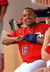 17 June 2006: Jose Guillen (left), right fielder for the Washington Nationals, in the dugout during a game against the New York Yankees at RFK Stadium, in Washington, DC. The Nationals overcame a seven run deficit to win 11-9 in the second game of the interleague series...Mandatory Photo Credit: Ed Wolfstein Photo...