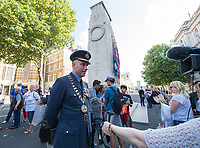 Picture by Allan McKenzie/SWpix.com - 25/08/2017 - Rugby League - Commemorative wreath laying ceremony - The Cenotaph, London, England - RFL president Air Commodore Dean Andrew is interviewed.