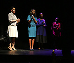 """Leslie Malaika Lewis, Immaculee Ilibagiza, Valentine Rugwabiza, Rwanda Ambassador to the UN and Malaika Uwamahoro on stage during """"Miracle in Rwanda"""" honoring International Day of Reflection on the 1994 Genocide against the Tutsi in Rwanda at the Lion Theatre on Theater Row on April 7, 2019 in New York City."""