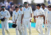 25th November 2019; Mt Maunganui, New Zealand;  Tom Latham, Tim Southee and team mates celebrate winning the match International test match day 5 of 1st test, New Zealand versus England;  at Bay Oval, Mt Maunganui, New Zealand.