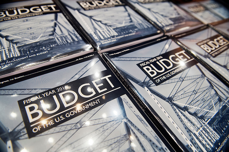 UNITED STATES - FEBRUARY 02: Copies of President Obama's budget for fiscal year 2016, wait to be distributed in the Senate Budget Committee room in Dirksen Building, February 2, 2015. (Photo By Tom Williams/CQ Roll Call)