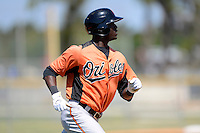 Baltimore Orioles outfielder Jalen Simmons (72) during a minor league Spring Training game against the Minnesota Twins at Buck O'Neil Complex on March 26, 2013 in Sarasota, Florida.  (Mike Janes/Four Seam Images)