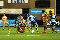 Willis Halaholo of Cardiff Blues is tackled by Nico Lee of Toyota Cheetahs during the Guinness Pro14 Round 5 match between Cardiff Blues and Toyota Cheetahs at the Cardiff Arms Park Stadium in Cardiff, Wales, UK. Friday 28 September 2018