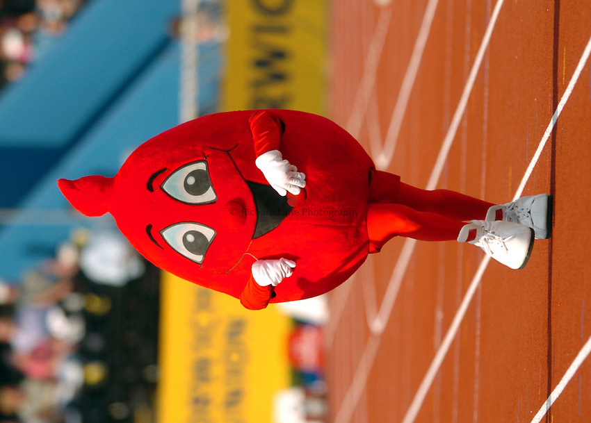 Photo. Henry Browne..Norwich Union London Grand Prix Athletics at Crystal Palace. 30/07/2004..The Give Blood mascot running in the mascot race.
