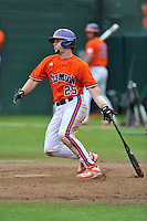 Junior catcher Chris Okey (25) of the Clemson Tigers in a fall practice intra-squad Orange-Purple scrimmage on Saturday, September 26, 2015, at Doug Kingsmore Stadium in Clemson, South Carolina. (Tom Priddy/Four Seam Images)