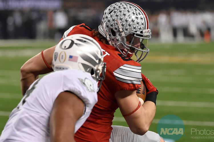 12 JAN 2015:  Nick Vannett (81) of the Ohio State University scores a touchdown against the University of Oregon during the College Football Playoff National Championship held at AT&T Stadium in Arlington, TX.  Ohio State defeated Oregon 42-20 for the national title.  Jamie Schwaberow/NCAA Photos